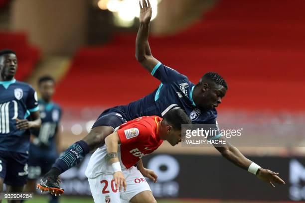 Monaco's Brazilian midfielder Rony Lopez vies with Lille's French defender Adama Soumaoro during the French L1 football match Monaco vs Lille on...