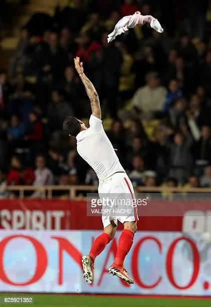 Monaco's Brazilian mildfielder Gabriel Boschilia celebrates after scoring a goal during the French L1 football match Monaco vs Marseille on November...