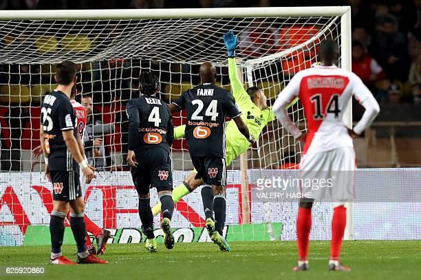 Monaco's Brazilian mildfielder Gabriel Boschilia scores a goal during the French L1 football match Monaco vs Marseille on November 26 2016 at the...