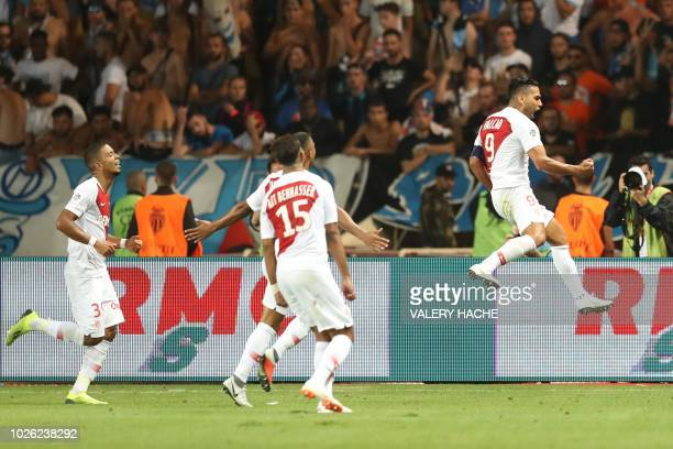 Monaco's Colombian forward Falcao celebrates after scoring a goal during the French L1 football match between AS Monaco and Olympique de Marseille on...