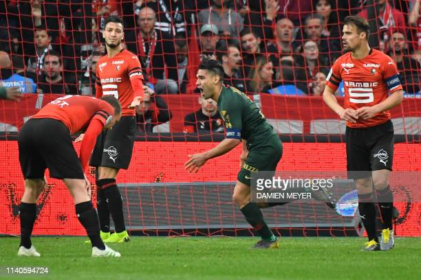 Monaco's Colombian forward Falcao celebrates after scoring a goal during the French L1 football match between Stade Rennais and Monaco at the Roazhon...