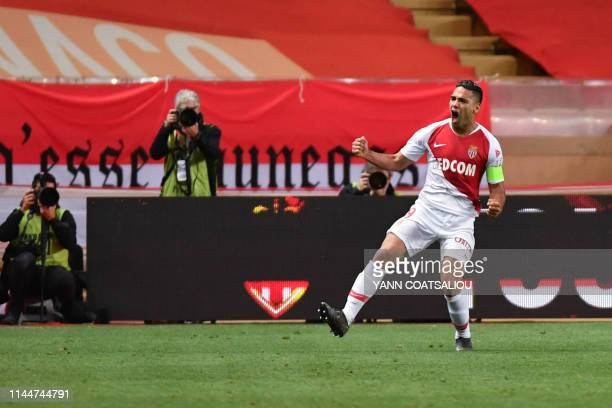 Monaco's Colombian forward Falcao celebrates after scoring a goal during the French L1 football match between AS Monaco and Amiens SC on May 18 2019...