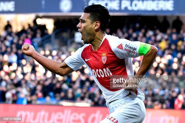 Monaco's Colombian forward Falcao celebrates after scoring during the French L1 football match between Montpellier Herault SC and AS Monaco at the...