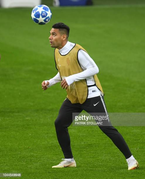 Monaco's Colombian forward Falcao warms up during a training session on the eve of the UEFA Champions League group A football match Borussia Dortmund...