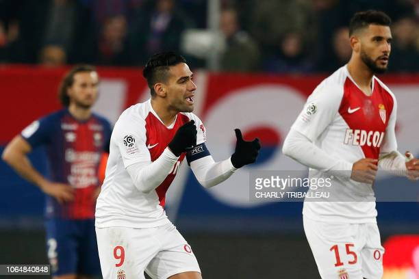 Monaco's Colombian forward Radamel Falcao celebrates after scoring a goal during the French L1 football match between Caen and Monaco on November 24...