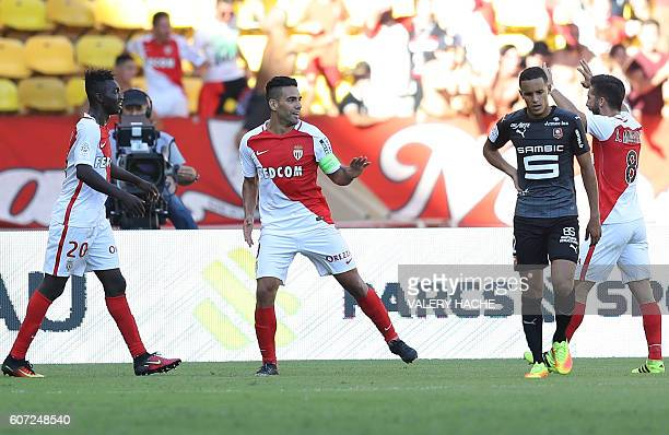 Monaco's Colombian forward Radamel Falcao celebrates after scoring a goal during the French L1 football match Monaco vs Rennes on September 17 2016...
