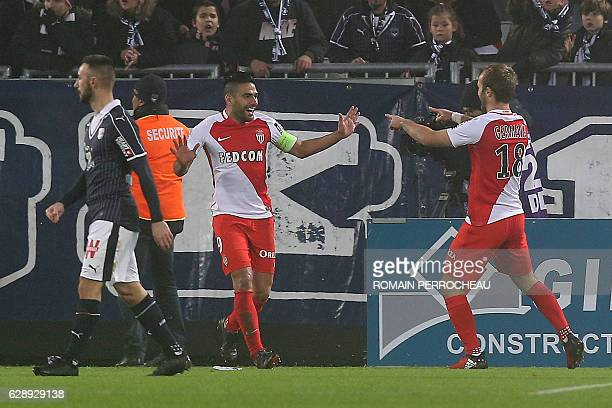 Monaco's Colombian forward Radamel Falcao celebrates after scoring a goal during the French L1 football match Bordeaux vs Monaco on December 10 2013...
