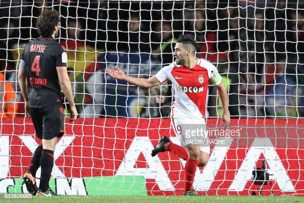 Monaco's Colombian forward Radamel Falcao celebrates after scoring a goal during the French L1 football match between Monaco and Nice on February 4...