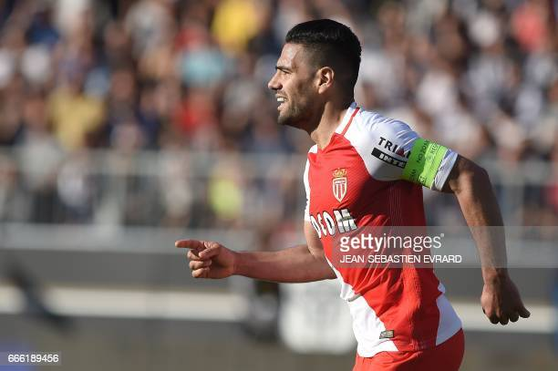 Monaco's Colombian forward Radamel Falcao celebrates after scoring a goal during the French L1 football match between Angers and Monaco on April 8 at...