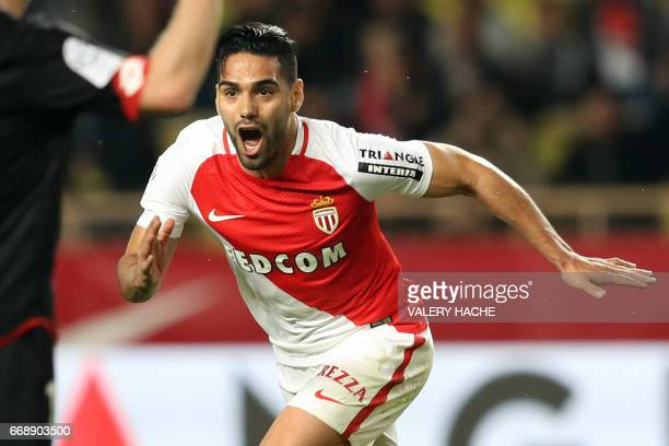 Monaco's Colombian forward Radamel Falcao celebrates after scoring a goal during the French L1 football match Monaco vs Dijon on April 15 2017 at the...