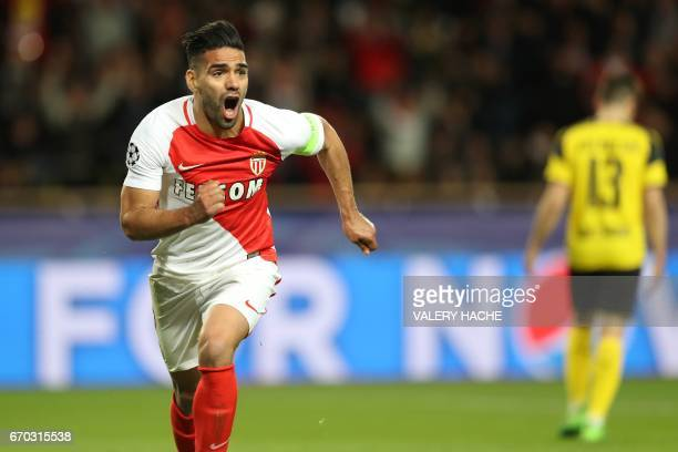 TOPSHOT Monaco's Colombian forward Radamel Falcao celebrates after scoring a header during the UEFA Champions League 2nd leg quarterfinal football...