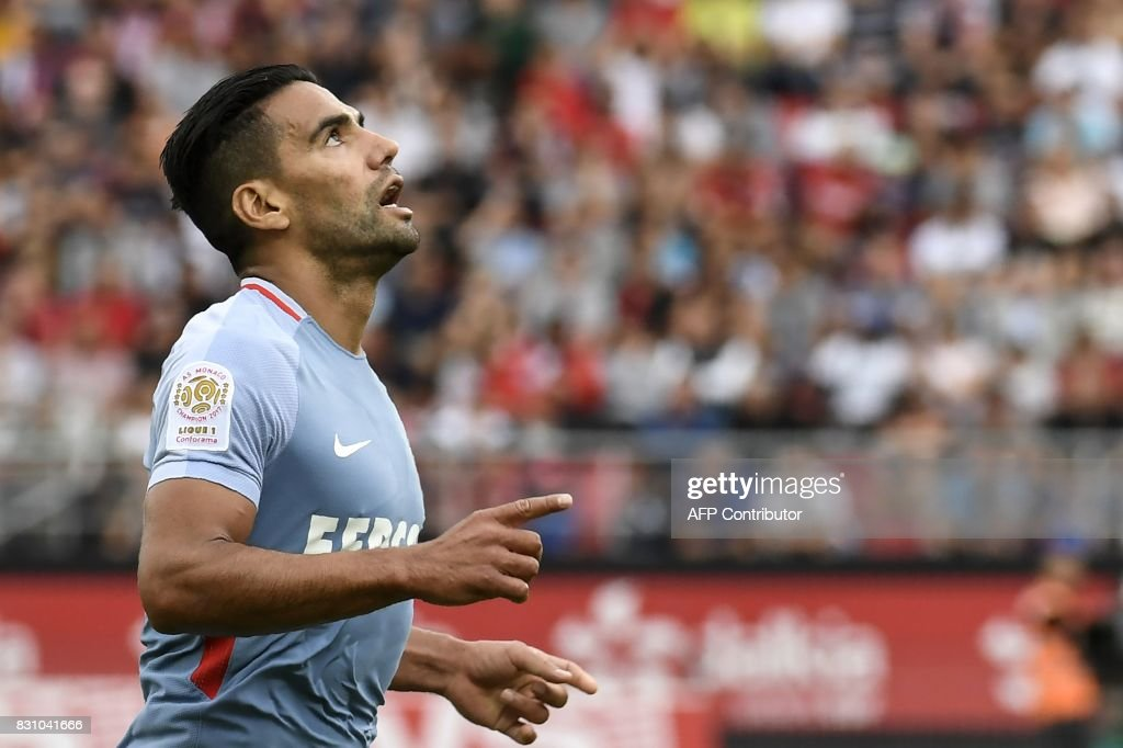 Monaco's Colombian forward Radamel Falcao celebrates after scoring a goal during the French L1 football match between Dijon FCO and AS Monaco, on August 13, 2017 at Gaston Gerard stadium in Dijon, northern France. /