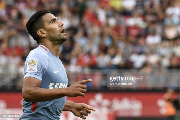 Monaco's Colombian forward Radamel Falcao celebrates after scoring a goal during the French L1 football match between Dijon FCO and AS Monaco on...