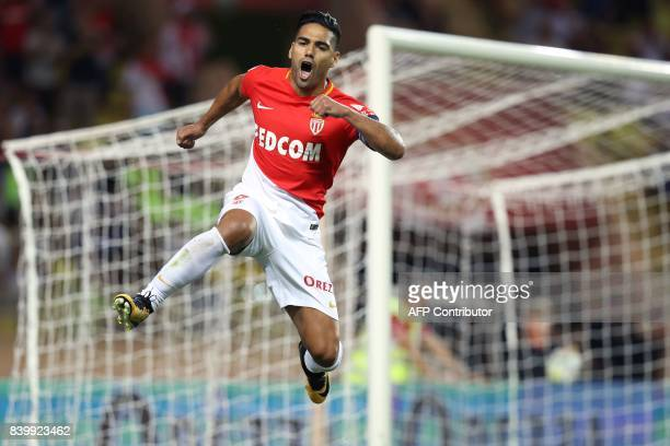 TOPSHOT Monaco's Colombian forward Radamel Falcao celebrates after scoring a penalty kick during the French L1 football match between Monaco and...