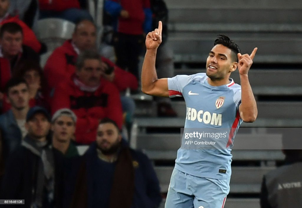Monaco's Colombian forward Radamel Falcao celebrates after scoring a goal during the French L1 football match between Lille OSC (LOSC) and Monaco on September 22, 2017 at the Pierre-Mauroy Stadium in Villeneuve d'Ascq, near Lille, northern France. /