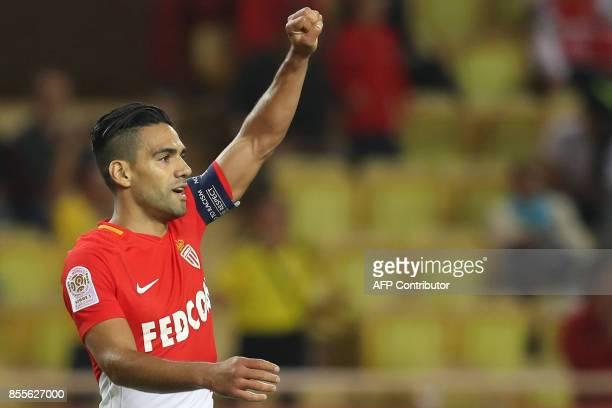 Monaco's Colombian forward Radamel Falcao celebrates after scoring a goal during the French L1 football match between Monaco and Montpellier on...