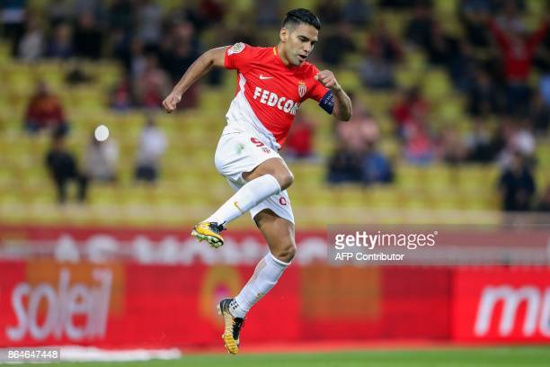 Monaco's Colombian forward Radamel Falcao celebrates after scoring a goal during the French L1 football match Monaco vs Caen on October 21 2017 at...