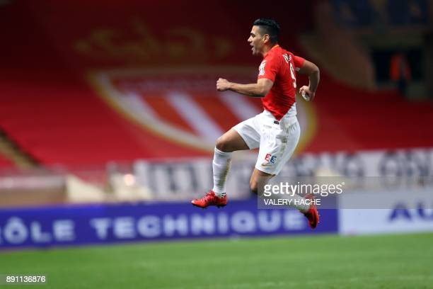 Monaco's Colombian forward Radamel Falcao celebrates after scoring a goal during the French League Cup round of 16 football match between Monaco and...