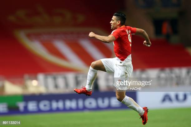 Monaco's Colombian forward Radamel Falcao celebrates after scoring during the French League Cup round of 16 football match between Monaco and Caen at...