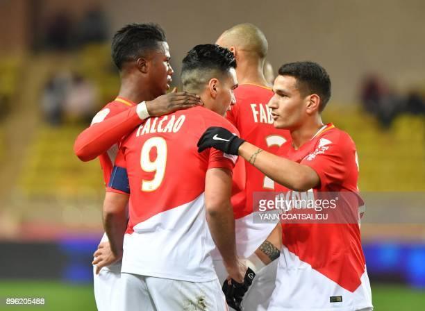Monaco's Colombian forward Radamel Falcao celebrates after scoring during the french L1 football match Monaco vs Stade Rennais FC on December 202017...