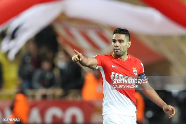 Monaco's Colombian forward Radamel Falcao celebrates after scoring during the French L1 football match Monaco vs Nice on January 16 2018 at the Louis...