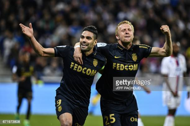 Monaco's Colombian forward Radamel Falcao celebrates with Monaco's Polish defender Kamil Glik after scoring a goal during the French L1 football...