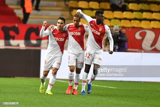 Monaco's Colombian forward Radamel Falcao celebrates with teammates after scoring a goal during the french L1 football match AS Monaco vs Strasbourg...
