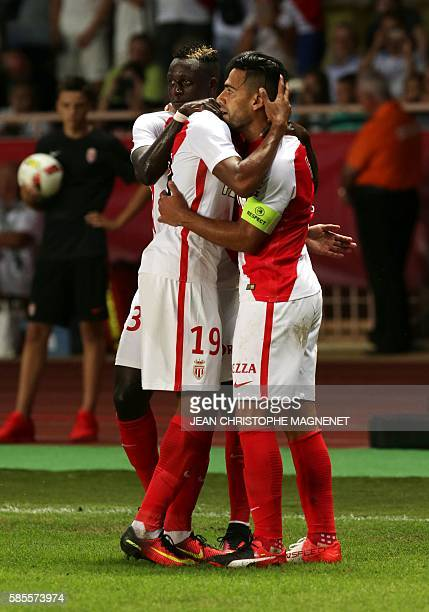 Monaco's Colombian forward Radamel Falcao celebrates with teammates after scoring during the Champions League third qualifying round football match...