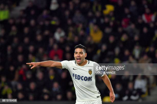 Monaco's Colombian forward Radamel Falcao gestures during the French L1 football match Nantes vs Monaco at the La Beaujoire stadium in Nantes western...