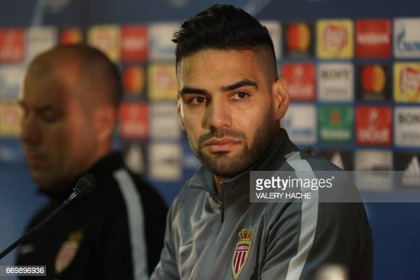Monaco's Colombian forward Radamel Falcao gives a press conference on the eve of the UEFA Champions League football match Monaco against Dortmund on...