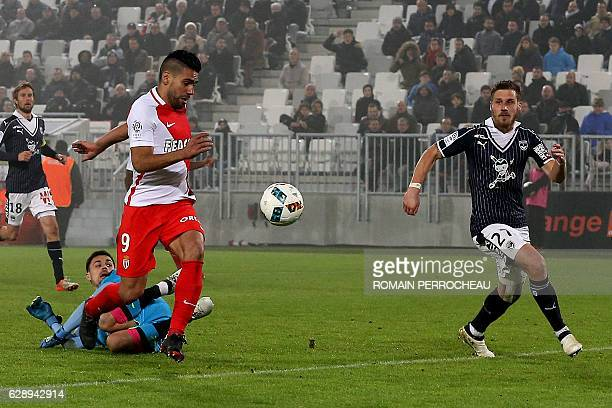Monaco's Colombian forward Radamel Falcao is seen on his way to score a goal during the French L1 football match Bordeaux vs Monaco on December 10...