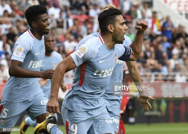 Monaco's Colombian forward Radamel Falcao reacts after scoring a goal during the French Ligue 1 football match between Dijon FCO and AS Monaco on...