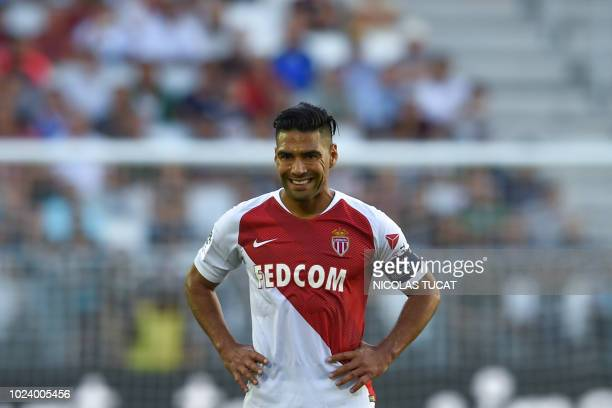 Monaco's Colombian forward Radamel Falcao reacts during the French L1 football match between Bordeaux and Monaco on August 26 2018 at the Matmut...