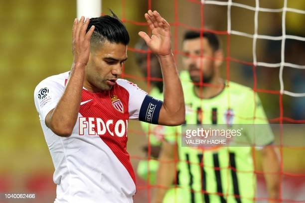 Monaco's Colombian forward Radamel Falcao reacts during the French L1 football match Monaco vs Angers on September 25 2018 at the Louis II stadium in...