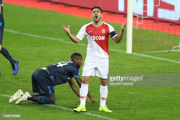 Monaco's Colombian forward Radamel Falcao reacts during the UEFA Champions League Group A football match between AS Monaco and Bruges at The Louis II...