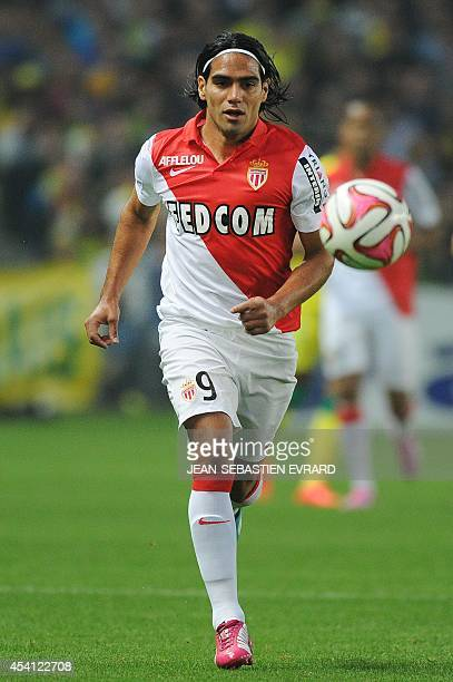 Monaco's Colombian forward Radamel Falcao runs with the ball during the French L1 football match between Nantes and Monaco on August 24 2014 at the...