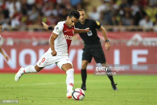 Monaco's Colombian forward Radamel Falcao shoots a penalty during the French L1 football match Monaco vs Lille on August 18 2018 at the Louis II...