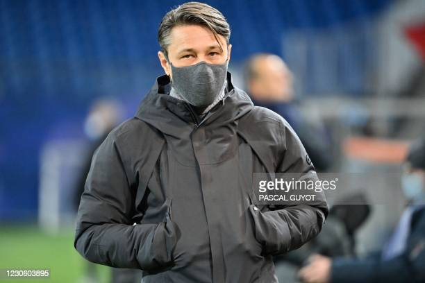 Monaco's Croatia head coach Niko Kovac looks on during the French L1 football match between Montpellier Herault SC and AS Monaco at the Mosson...