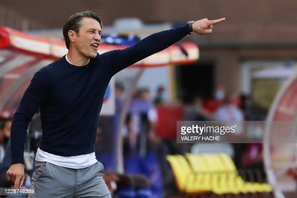 Monaco's Croatian coach Niko Kovac gestures during the French L1 football match between Monaco and Strasbourg at the Louis II stadium in Monaco, on...