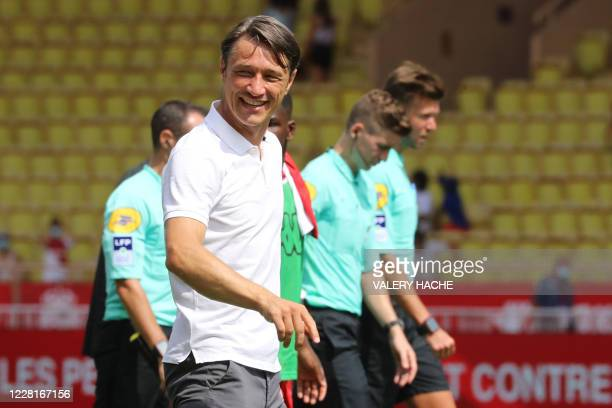 "Monaco's Croatian coach Niko Kovac reacts at the end of the French L1 football match between AS Monaco and Stade de Reims at The ""Louis II Stadium""..."