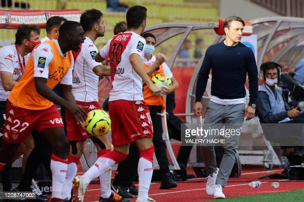 Monaco's Croatian coach Niko Kovac reacts at the end of the French L1 football match between Monaco and Strasbourg at the Louis II stadium in Monaco,...