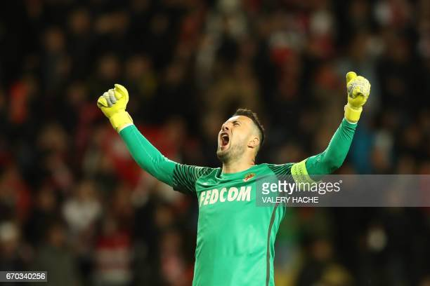 Monaco's Croatian goalkeeper Danijel Subasic celebrates after Monaco defeated Dortmund during the UEFA Champions League 2nd leg quarterfinal football...