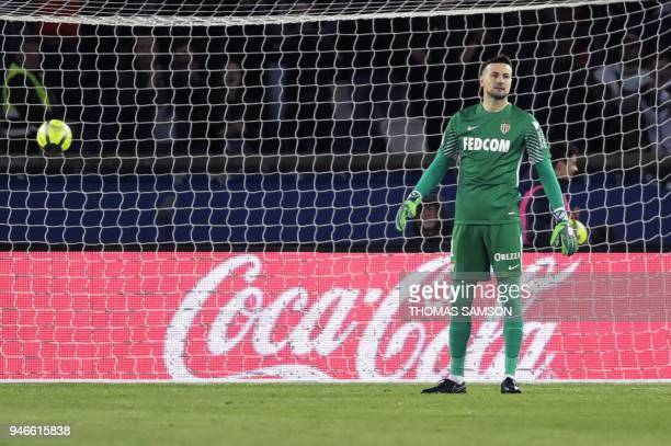 Monaco's Croatian goalkeeper Danijel Subasic reacts after taking a goal during the French L1 football match between Paris Saint-Germain and Monaco on...