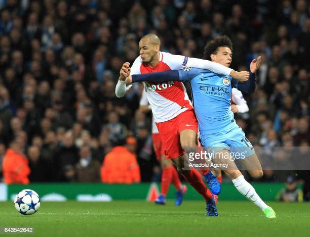 Monaco's defender Fabinho in action against Manchester City's midfielder Leroy Sane during the UEFA Champions League Round of 16 soccer match between...
