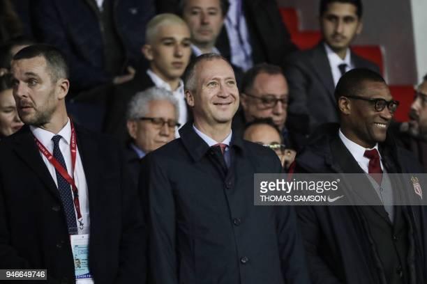 Monaco's deputy director general Nicolas Holveck Monaco's Russian Vice club President Vadim Vasilyev and Monaco's sporting director Michael Emenalo...
