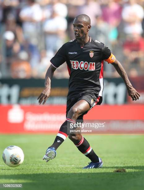 Monaco's Eric Abidal kicks the ball during the test match between FC Augsburg and AS Monaco in Memmingen Germany 20 July 2013 Photo...