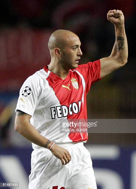 Monaco's forward Ermesto Javier Chevanton jubilates after his team scored against Olympiakos during their Champions League football match at the...