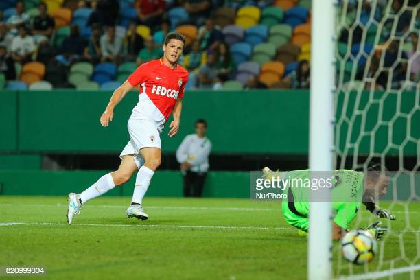 Monacos forward Guido Carrilo from Argentina scoring a goal during the Preseason Friendly match between Sporting CP and AS Monaco at Estadio Jose...