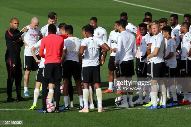 Monaco's French coach Thierry Henry gives instructions to his players during a training session in La Turbie near Monaco on October 18 2018