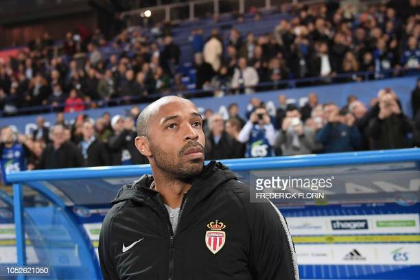 Monaco's French coach Thierry Henry looks on before the French L1 football match between Strasbourg and Monaco at the Meinau stadium in Strasbourg...